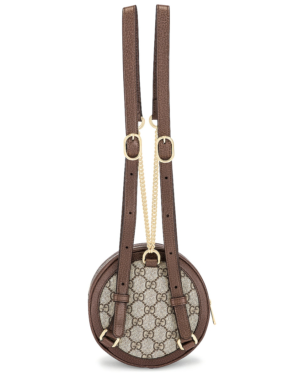 Image 2 of Gucci Ophidia GG Round Chain Backpack in Beige Ebony