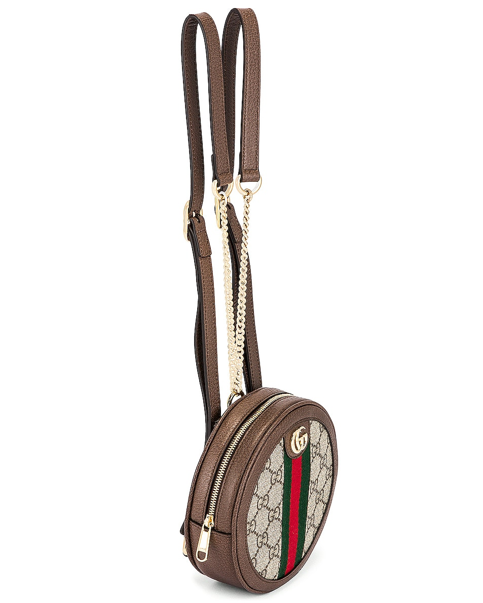 Image 3 of Gucci Ophidia GG Round Chain Backpack in Beige Ebony