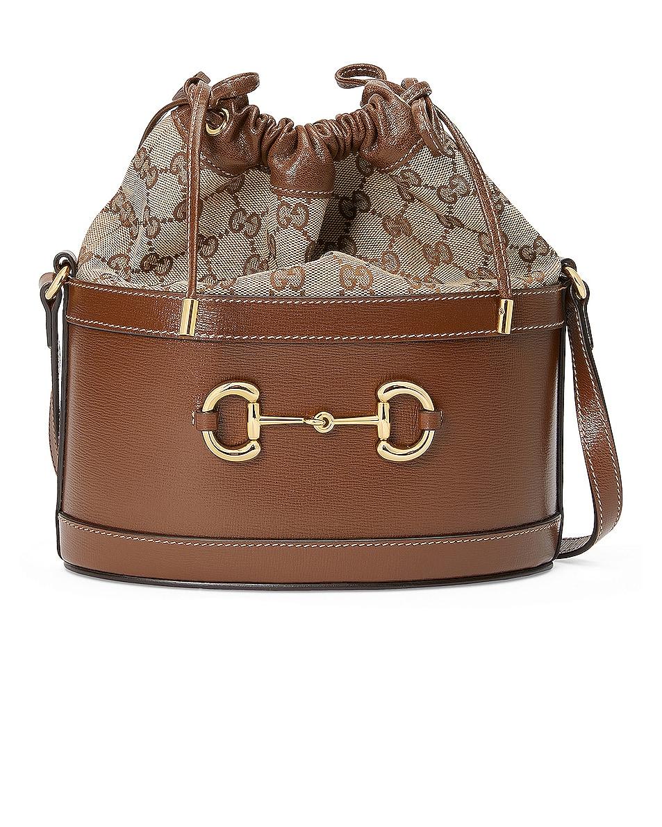 Image 1 of Gucci Horsebit 1955 Pouch Bag in Brown Sugar & Beige Ebony