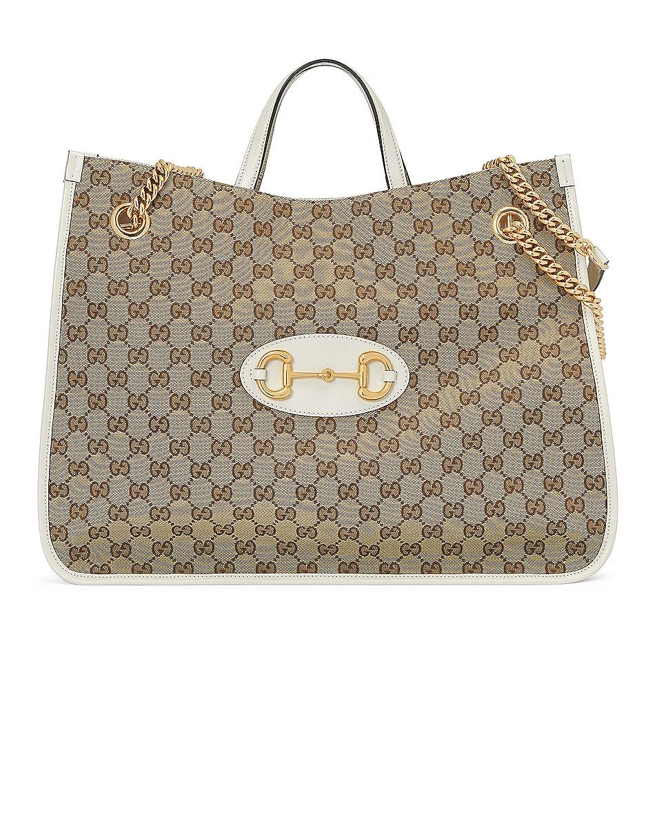 Image 1 of Gucci Horsebit 1955 Shoulder Bag in Beige Ebony & Mystic White