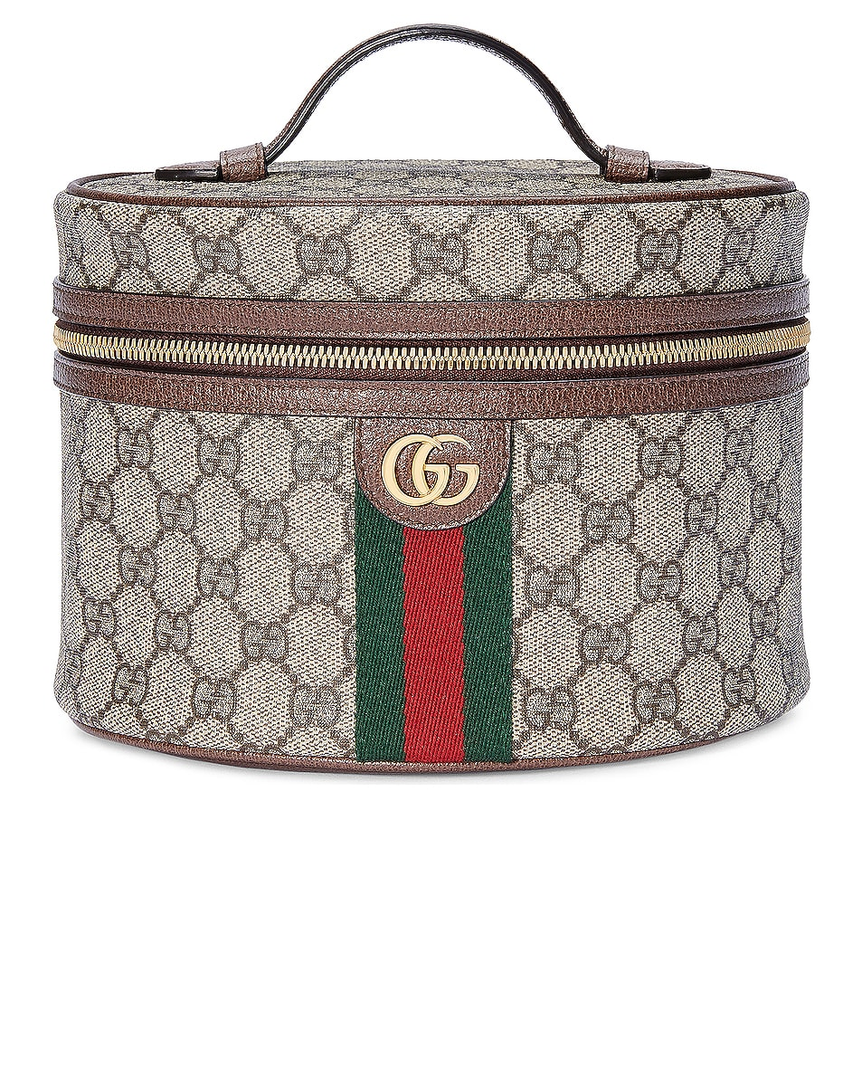 Image 1 of Gucci Ophidia GG Cosmetic Case in Beige Ebony