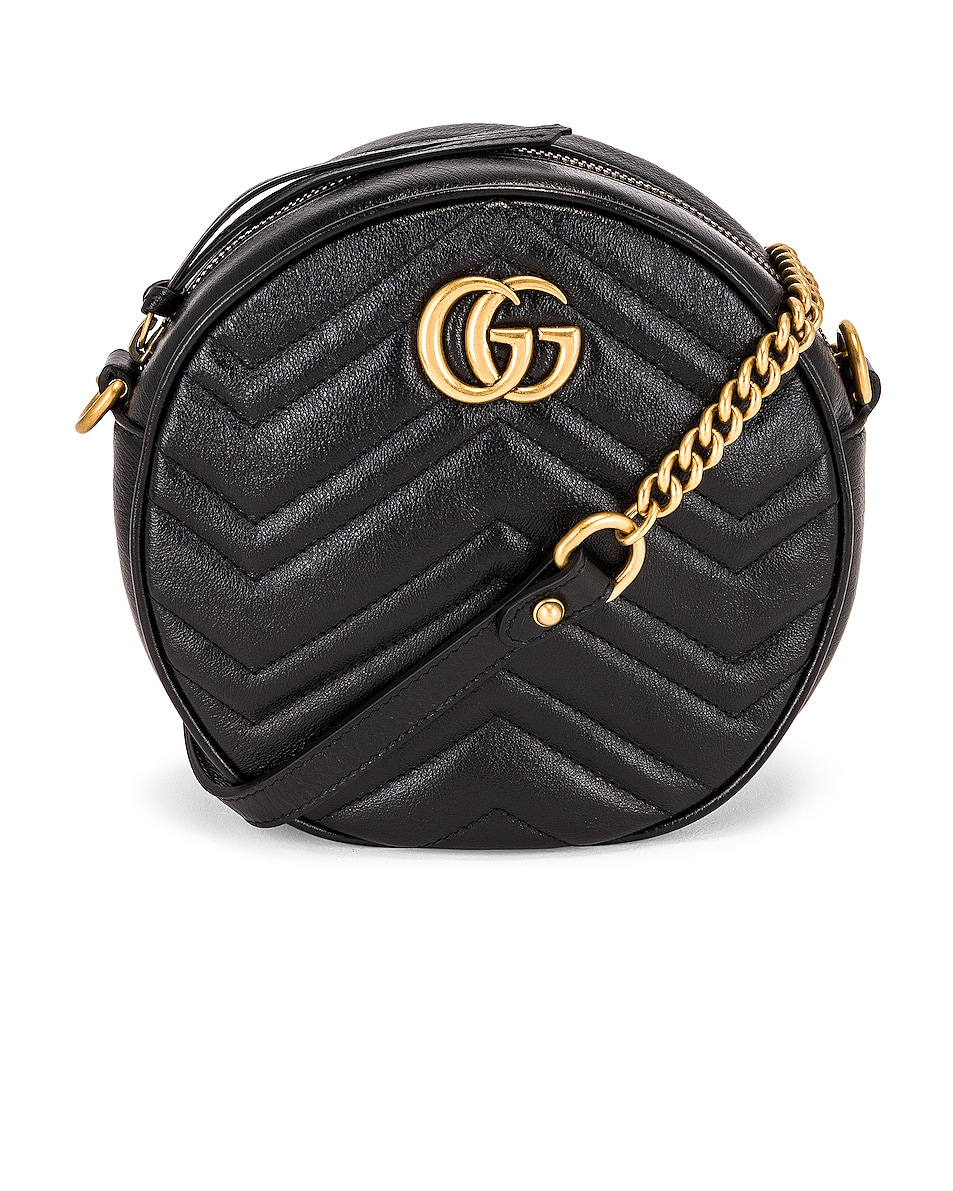 Image 1 of Gucci Mini Marmont Round Shoulder Bag in Black