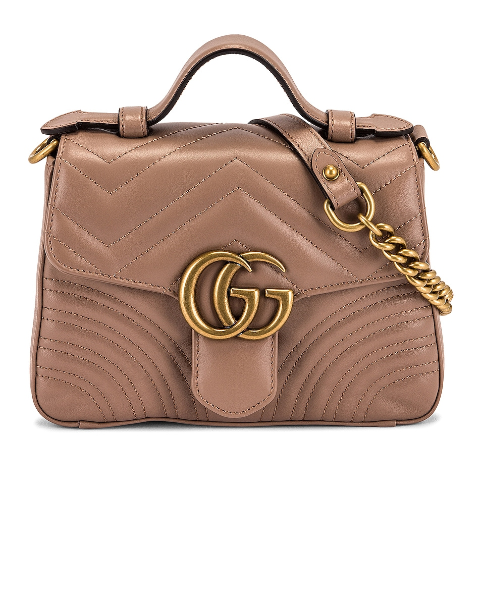 Image 1 of Gucci GG Marmont 2.0 Top Handle Bag in Nude