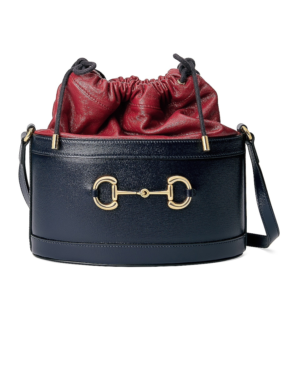 Image 1 of Gucci Morsetto Bucket Bag in Red & Black