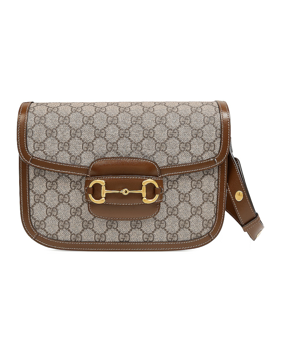 Image 1 of Gucci 1955 Horsebit Shoulder Bag in Beige Ebony & Brown Sugar