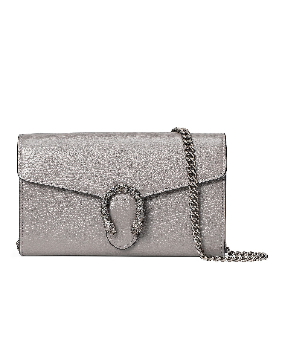 Image 1 of Gucci Leather Chain Shoulder Bag in Dusty Grey & Black Diamond