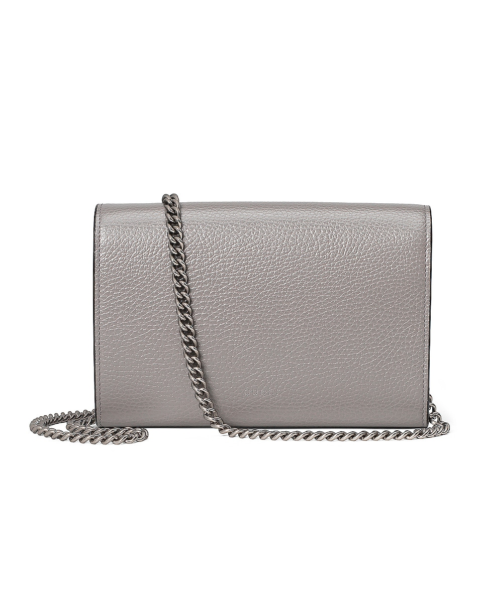 Image 3 of Gucci Leather Chain Shoulder Bag in Dusty Grey & Black Diamond