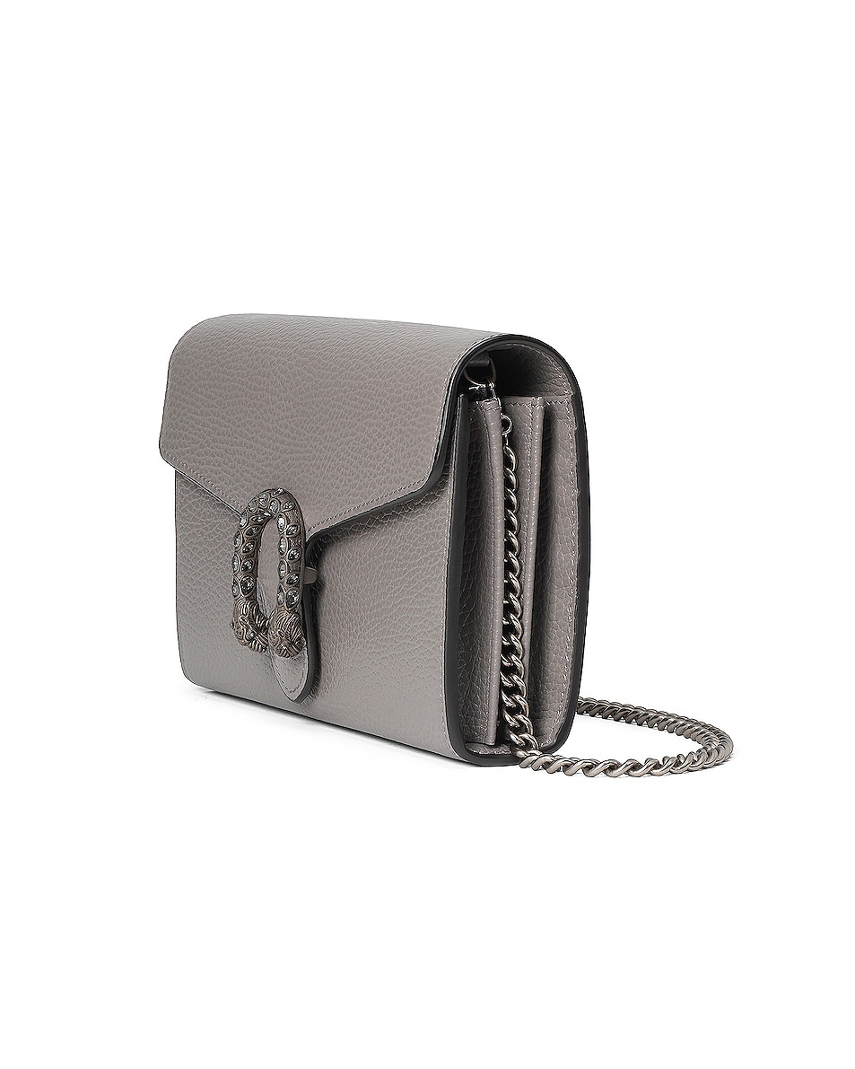 Image 4 of Gucci Leather Chain Shoulder Bag in Dusty Grey & Black Diamond