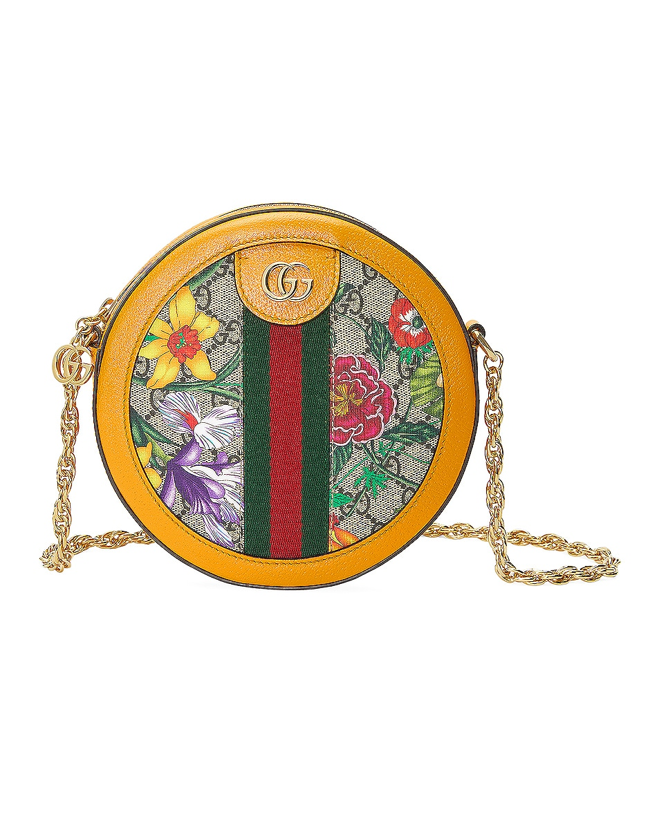 Image 1 of Gucci Ophidia Supreme GG Flora Round Shoulder Bag in Beige Ebony & Yellow