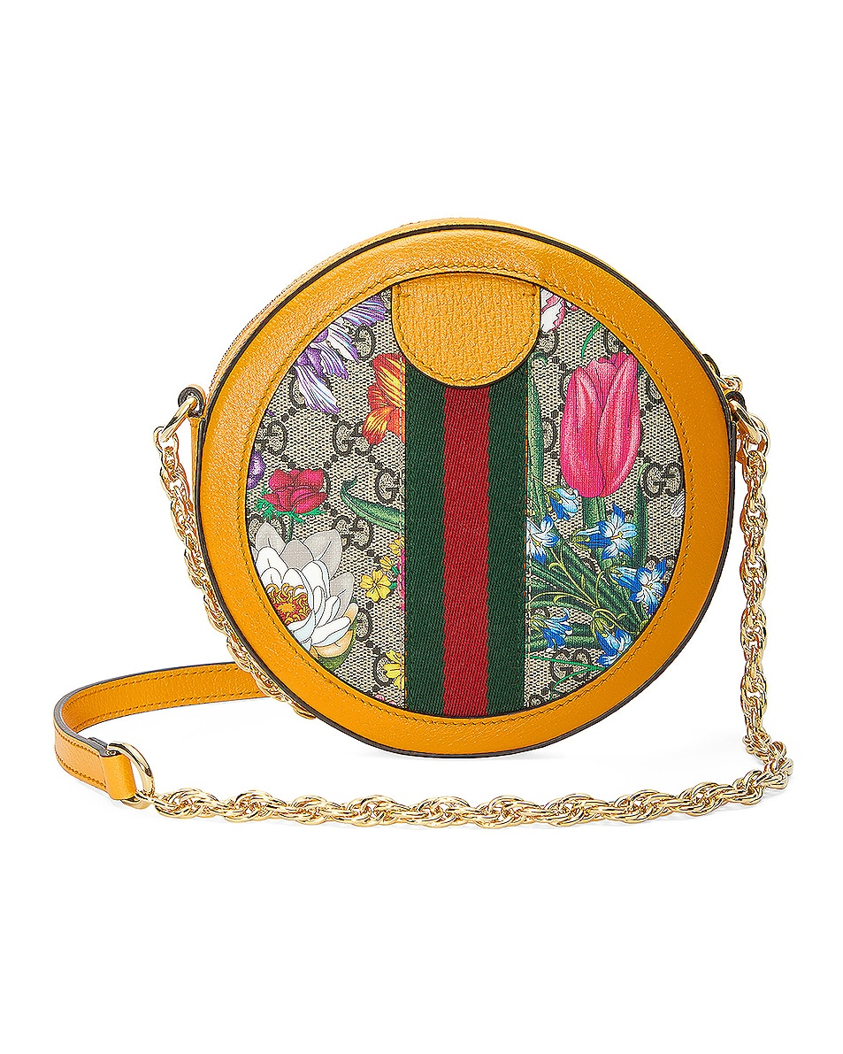 Image 3 of Gucci Ophidia Supreme GG Flora Round Shoulder Bag in Beige Ebony & Yellow