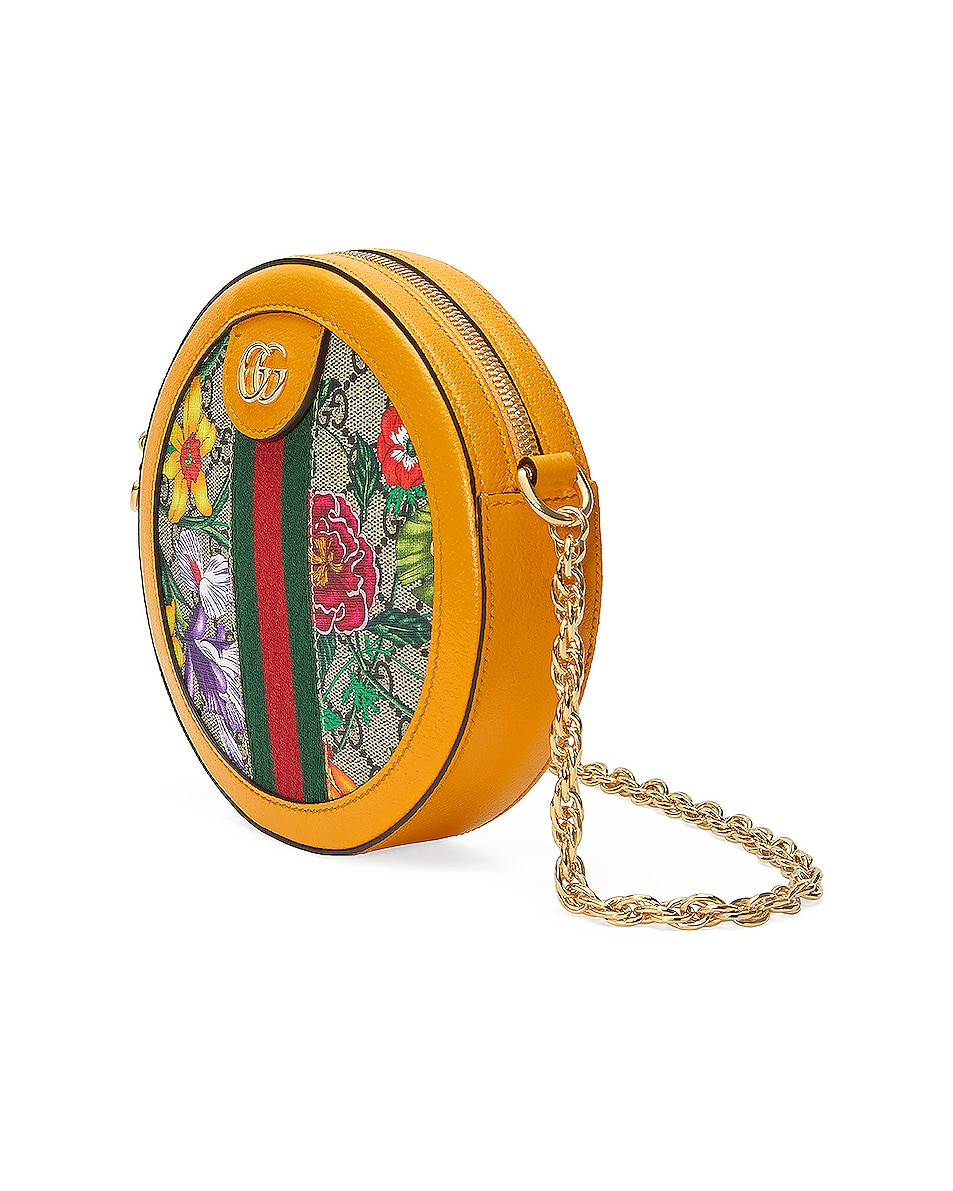Image 4 of Gucci Ophidia Supreme GG Flora Round Shoulder Bag in Beige Ebony & Yellow