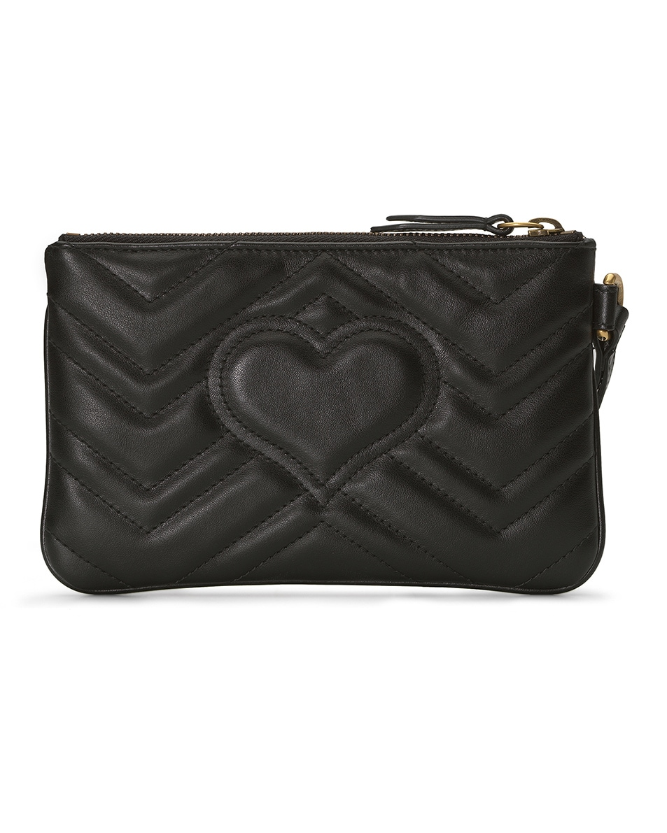 Image 2 of Gucci Leather Wrist Wallet in Black