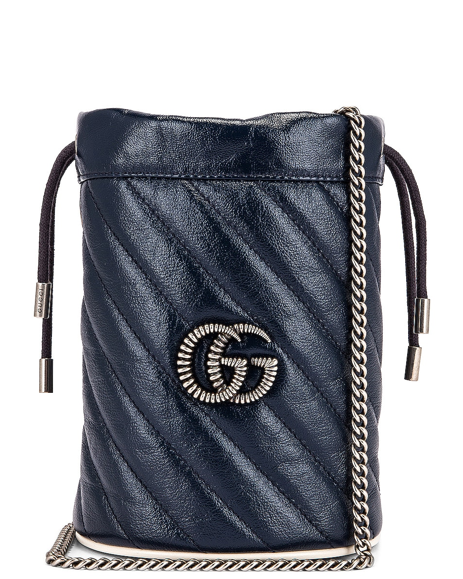 Image 1 of Gucci Leather Torchon Chain Bucket Bag in Blue Agata & Mystic White