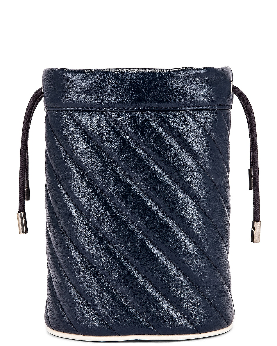Image 3 of Gucci Leather Torchon Chain Bucket Bag in Blue Agata & Mystic White
