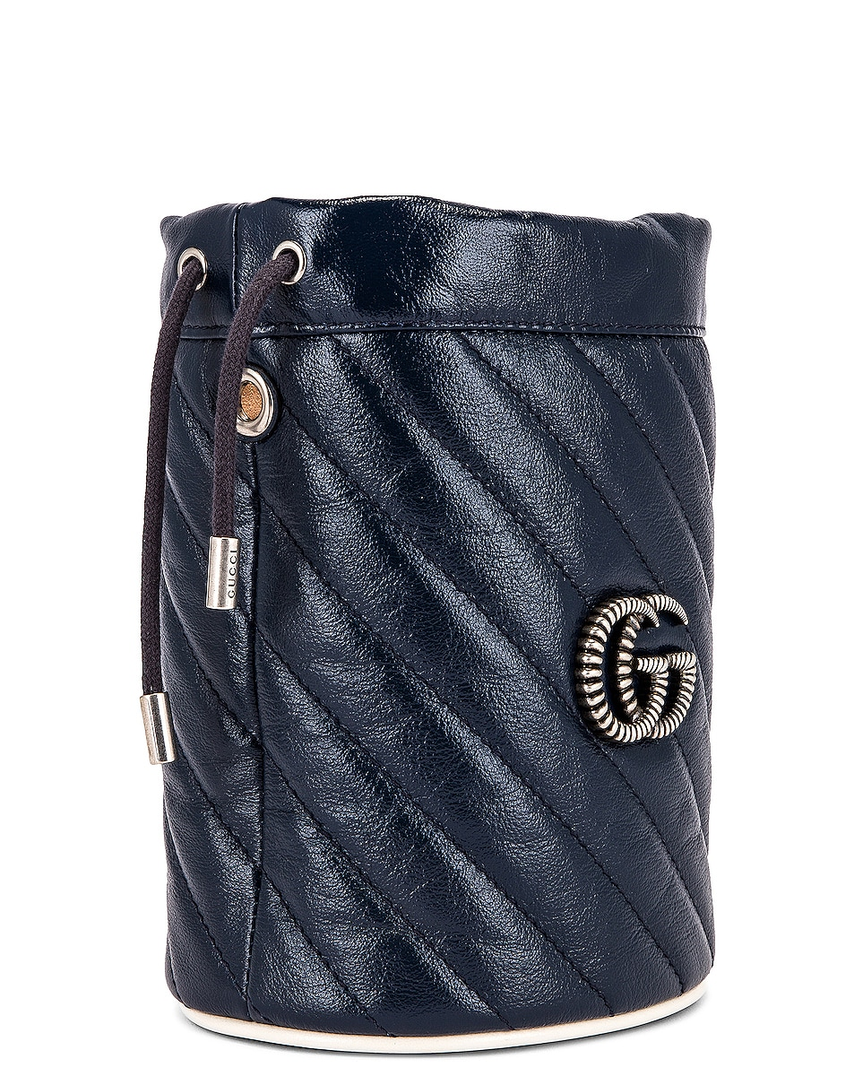 Image 4 of Gucci Leather Torchon Chain Bucket Bag in Blue Agata & Mystic White