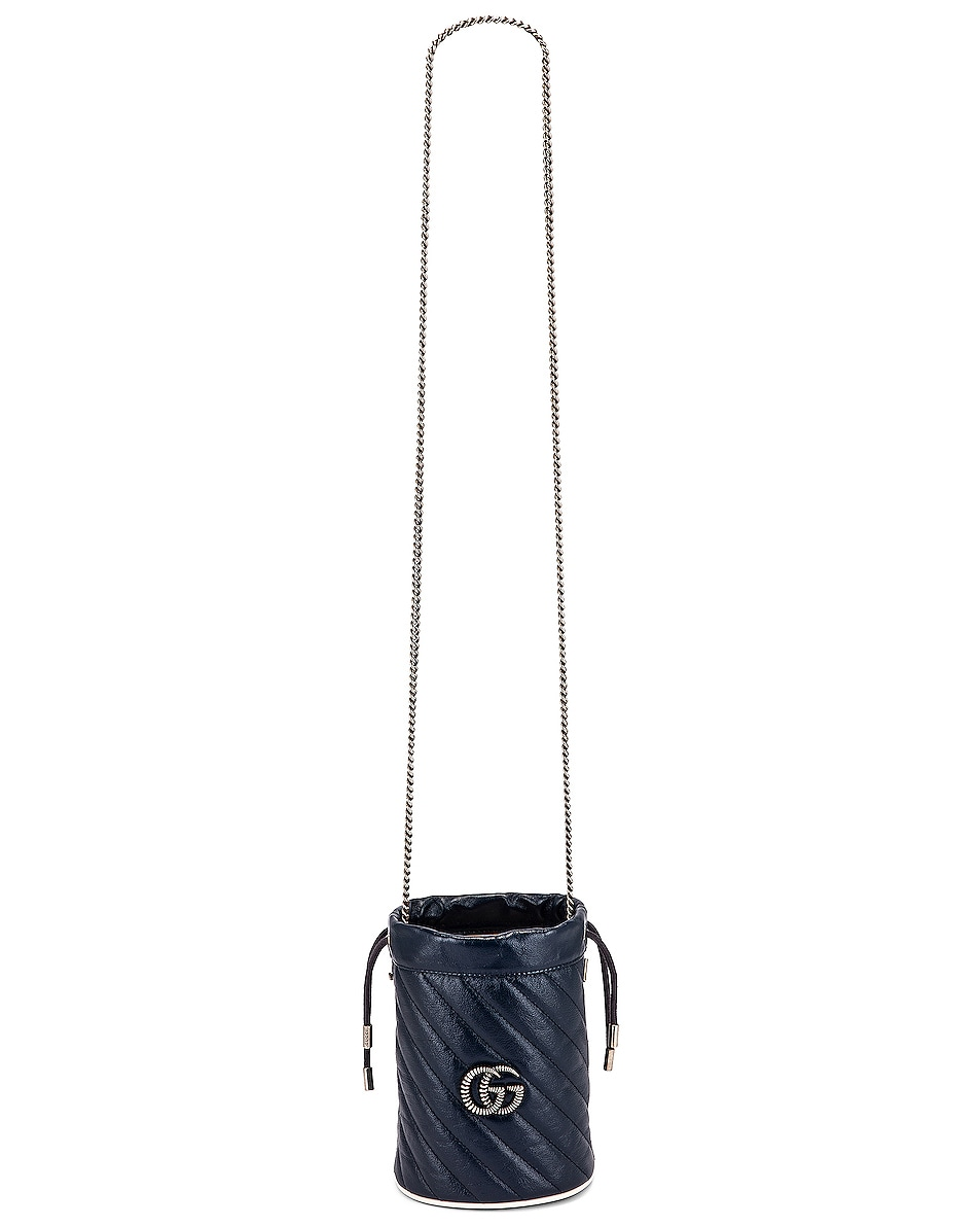 Image 6 of Gucci Leather Torchon Chain Bucket Bag in Blue Agata & Mystic White