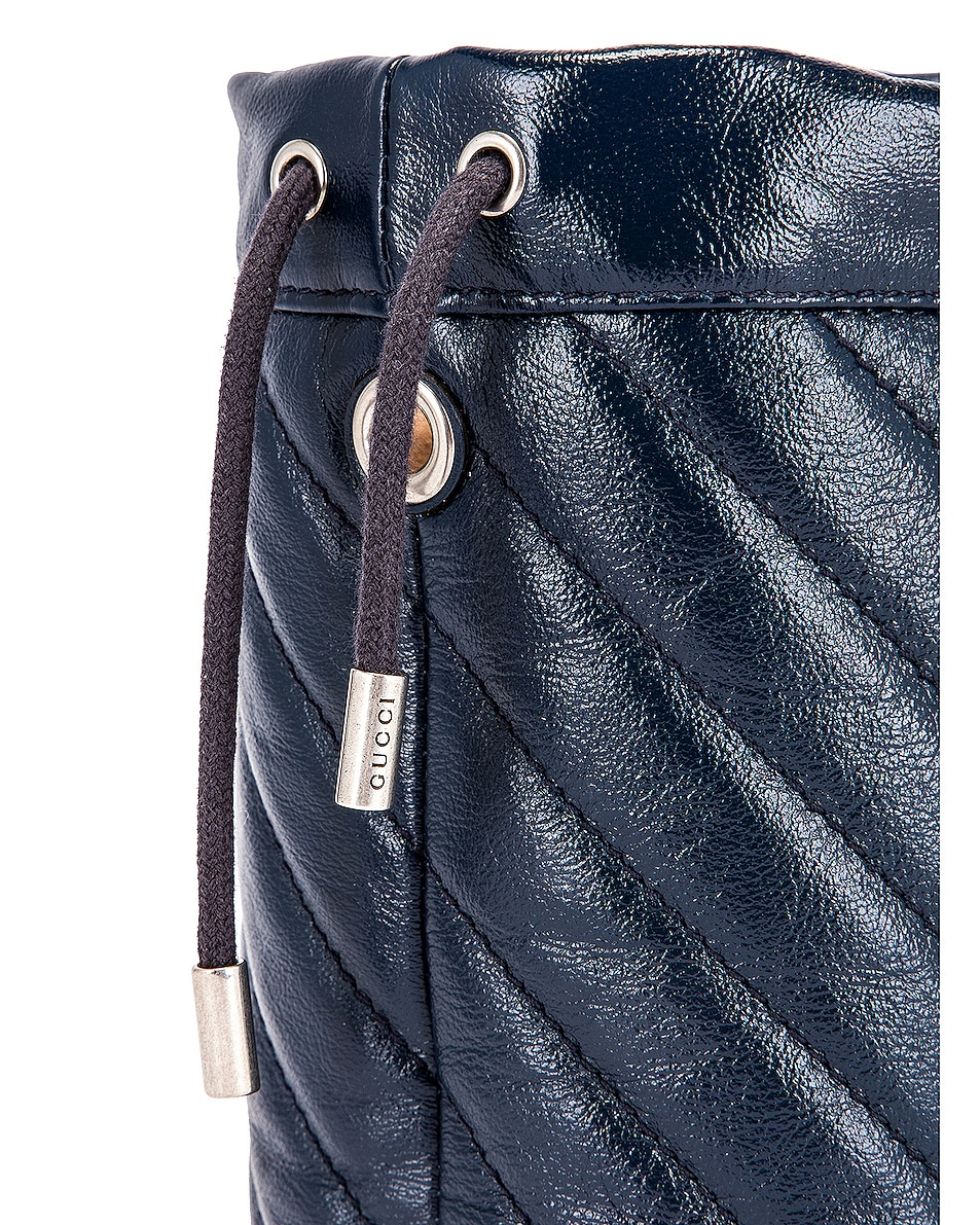 Image 8 of Gucci Leather Torchon Chain Bucket Bag in Blue Agata & Mystic White