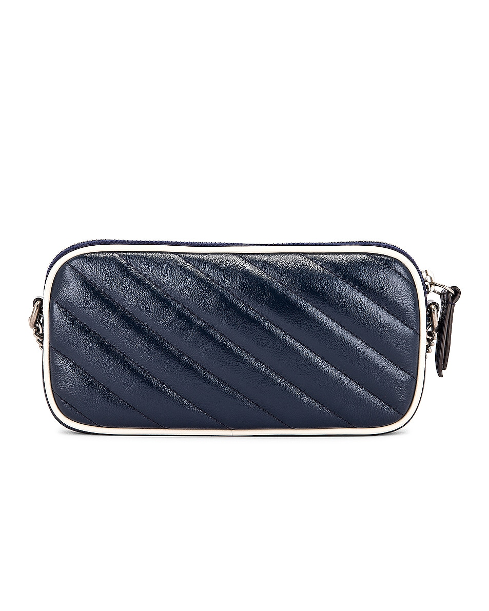 Image 3 of Gucci GG Marmont Torchon Chain Shoulder Bag in Blue Agata & Mystic White
