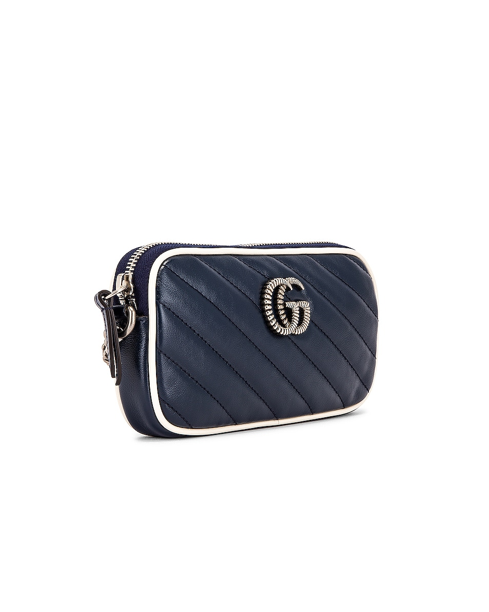 Image 4 of Gucci GG Marmont Torchon Chain Shoulder Bag in Blue Agata & Mystic White