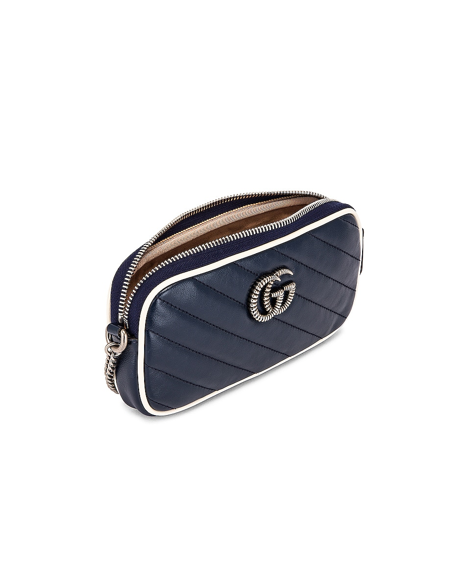 Image 5 of Gucci GG Marmont Torchon Chain Shoulder Bag in Blue Agata & Mystic White