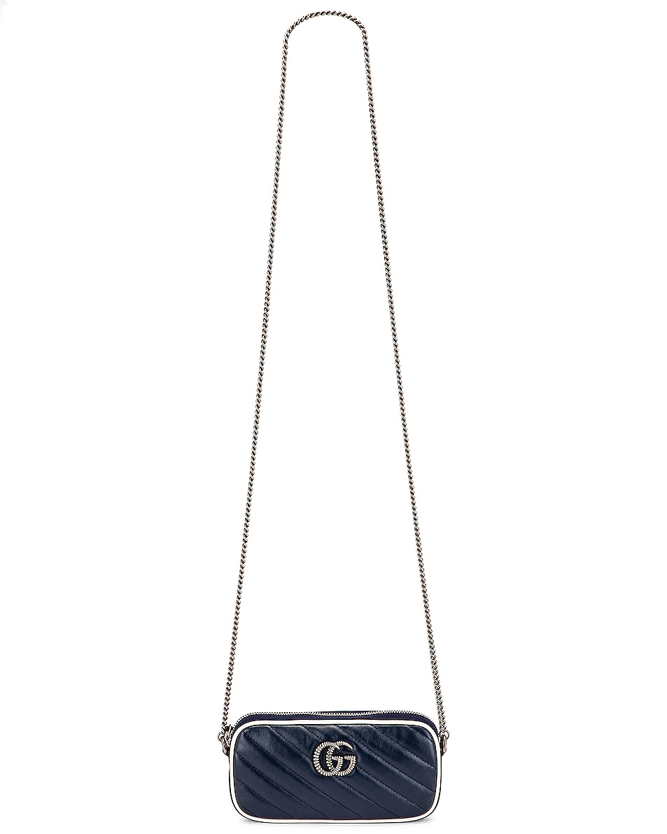 Image 6 of Gucci GG Marmont Torchon Chain Shoulder Bag in Blue Agata & Mystic White