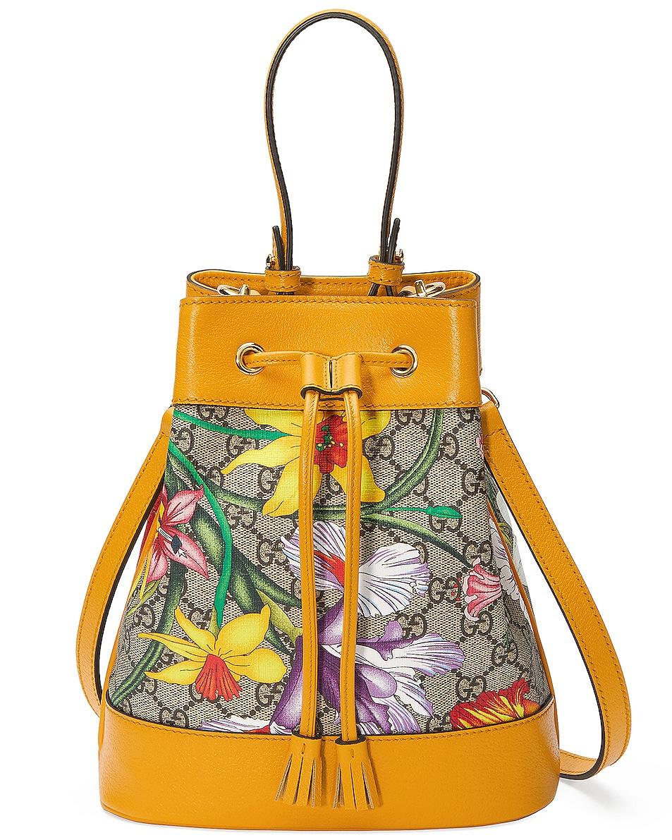 Image 1 of Gucci Ophidia Supreme GG Flora Shoulder Bag in Beige Ebony & Multicolor