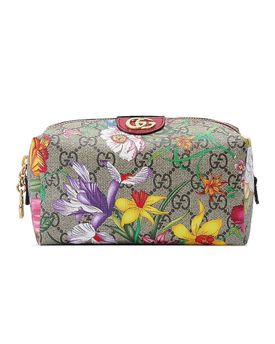 Image 1 of Gucci Floral Cosmetic Case in Beige Ebony & Red