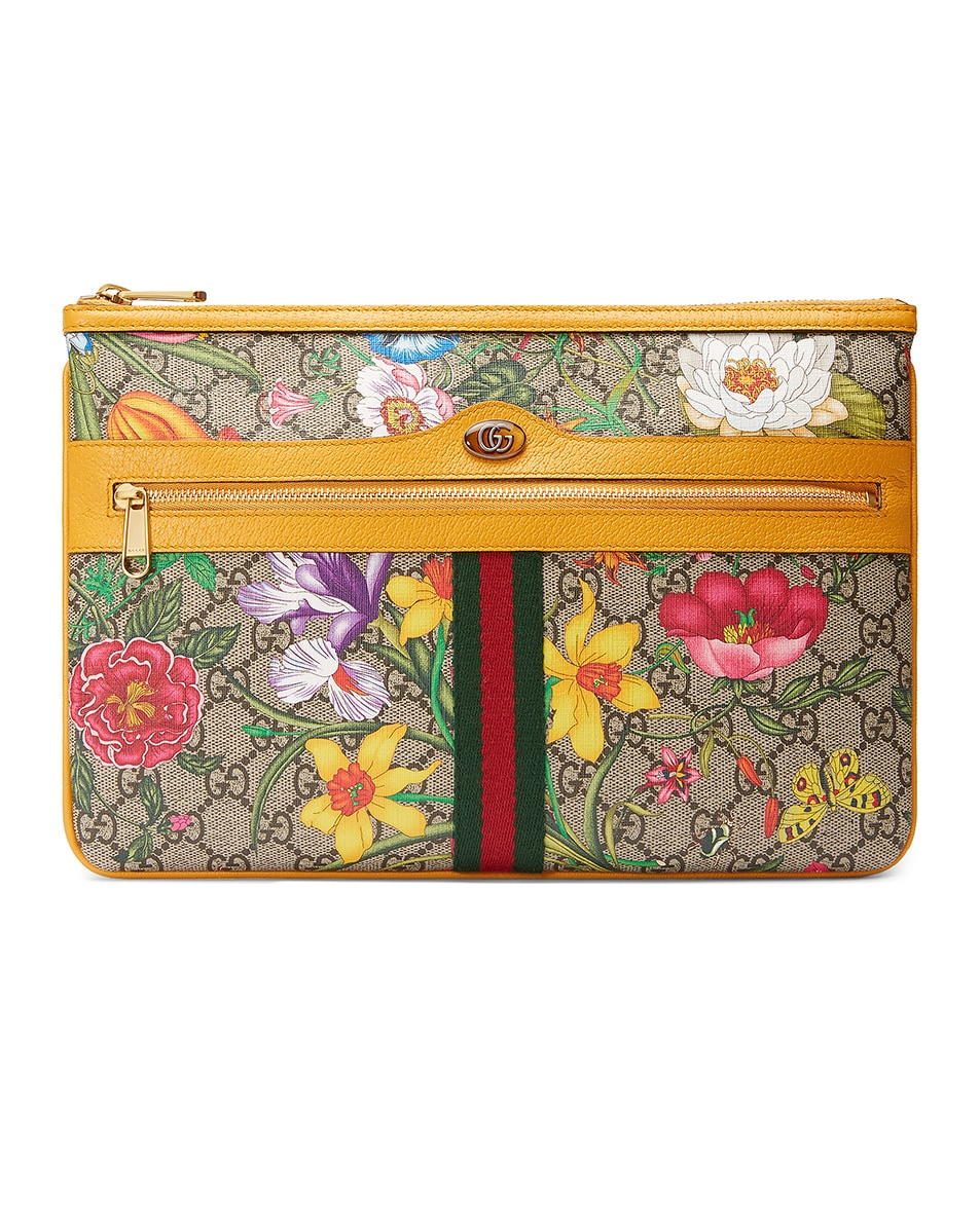 Image 1 of Gucci Floral Pouch in Beige Ebony & Multicolor