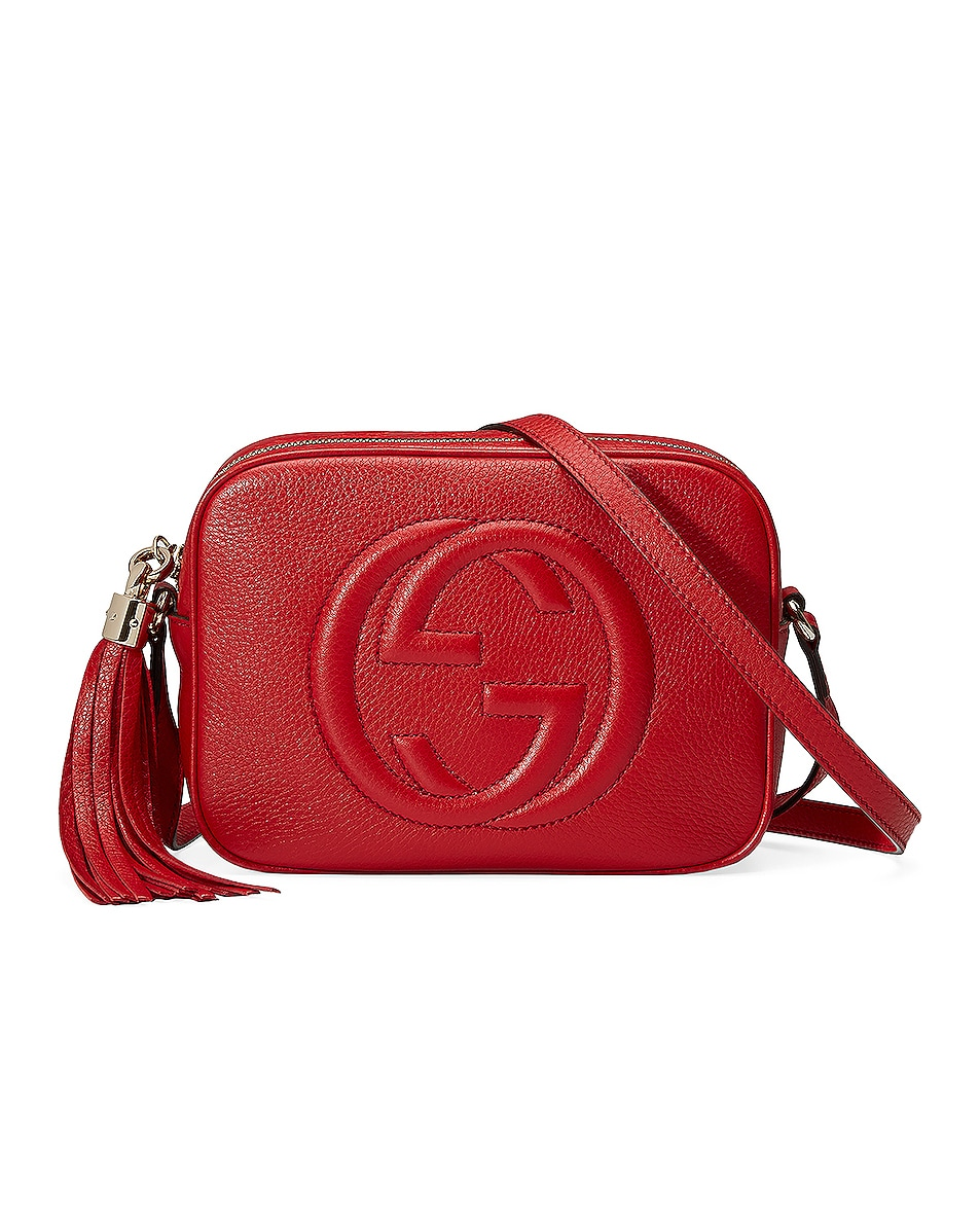 Image 1 of Gucci Small Leather Disco Bag in Vibrant Red
