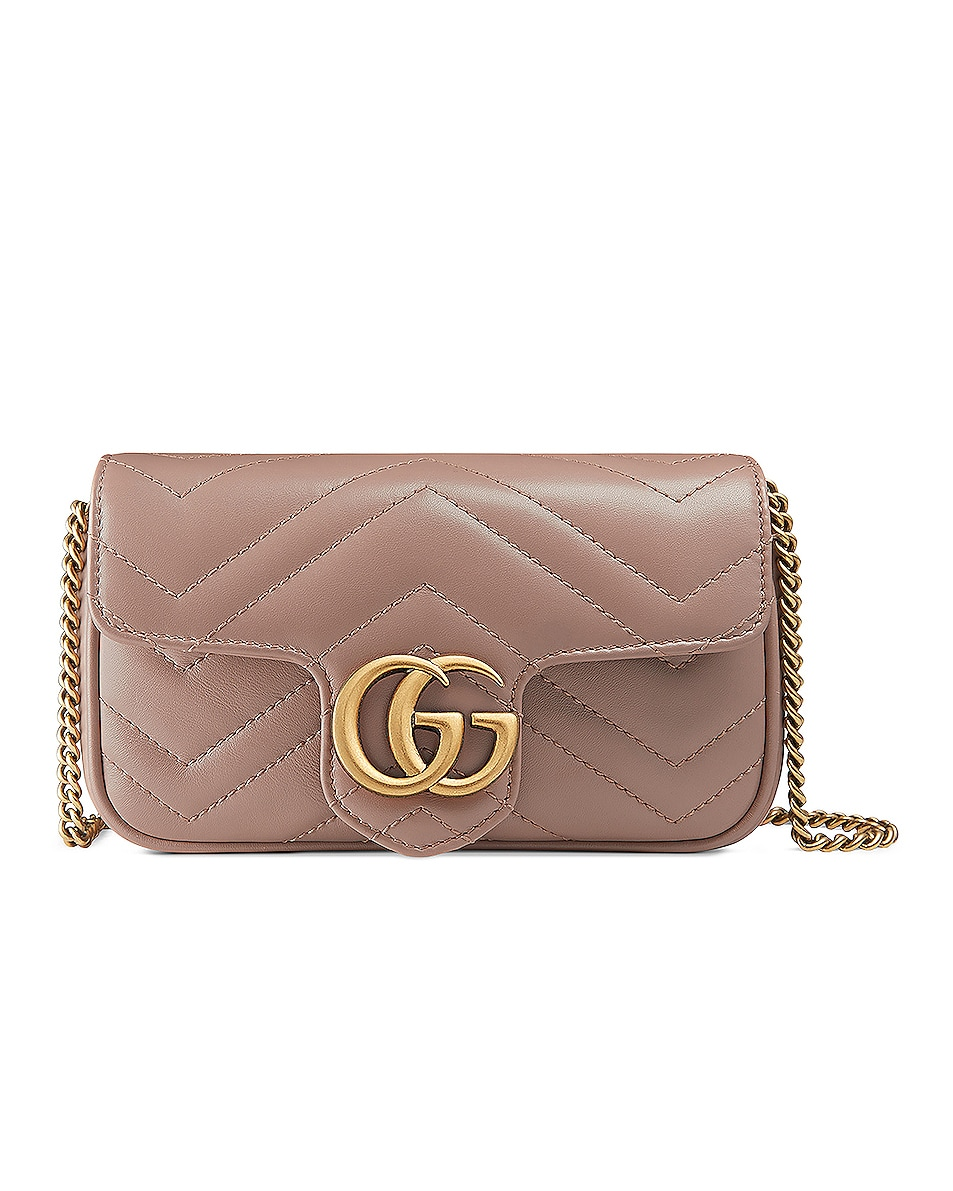 Image 1 of Gucci GG Marmont Super Mini Chain Shoulder Bag in Rose