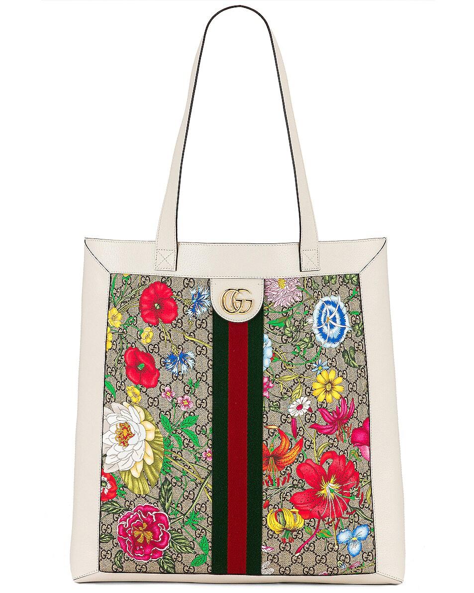 Image 1 of Gucci Supreme GG Flora Tote in Beige Ebony & White