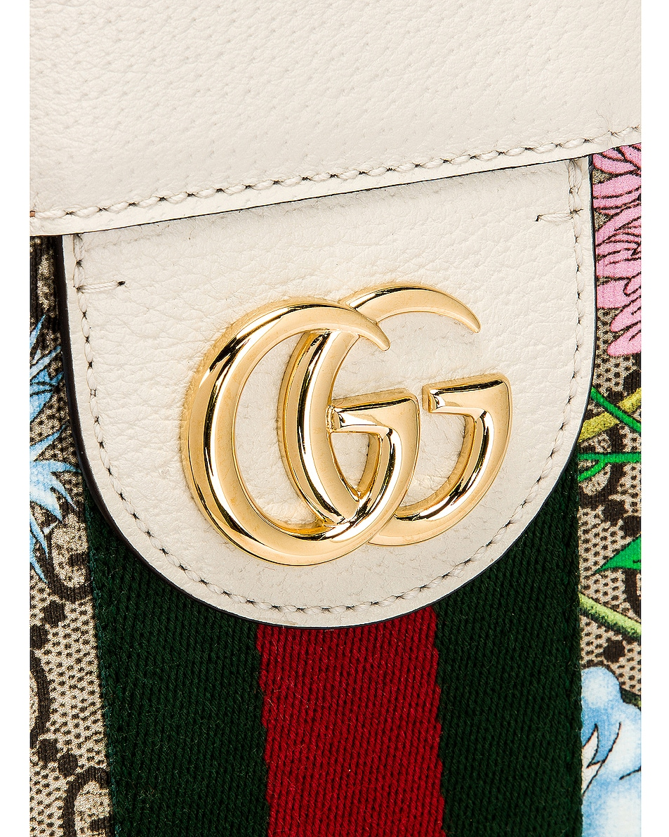 Image 7 of Gucci Supreme GG Flora Tote in Beige Ebony & White