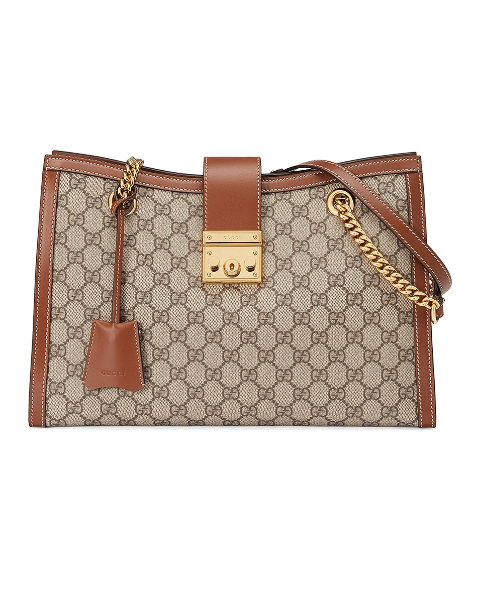 Image 1 of Gucci Padlock GG Tote Bag in Beige Ebony & Tuscany