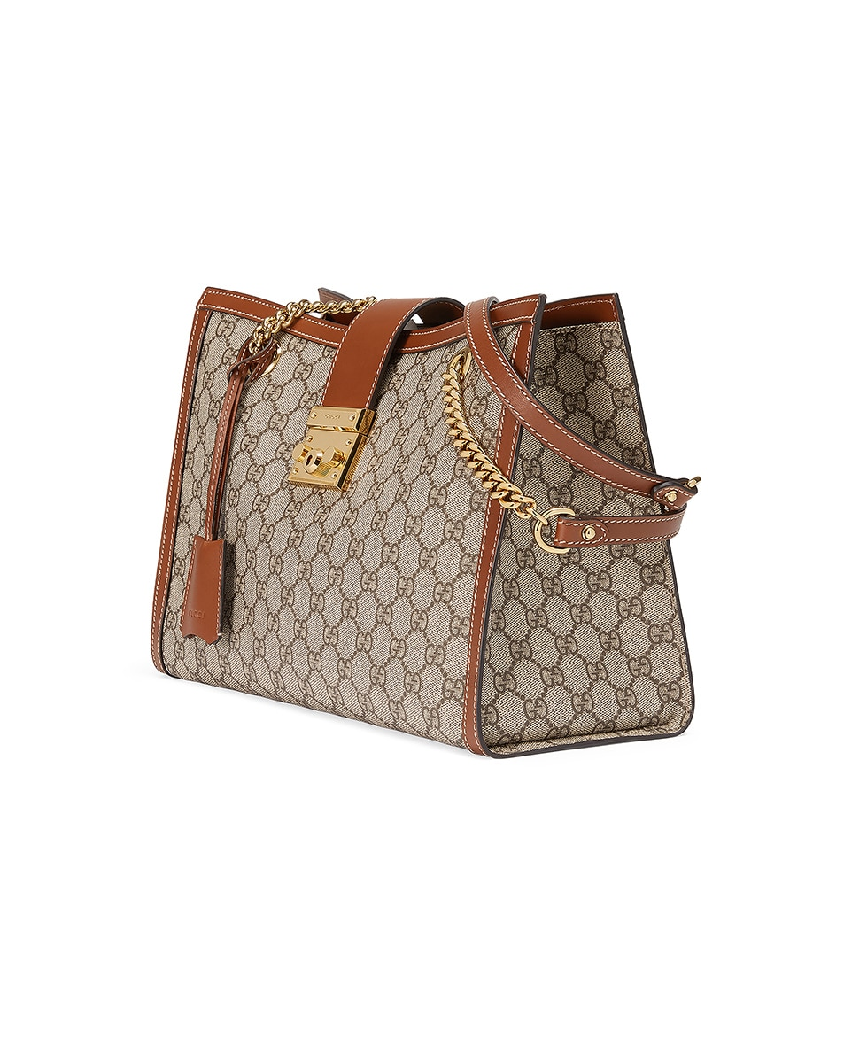 Image 3 of Gucci Padlock GG Tote Bag in Beige Ebony & Tuscany