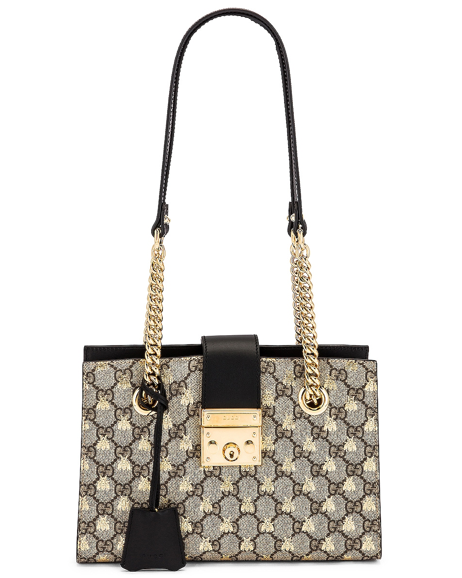 Image 1 of Gucci Padlock GG Tote Bag in Beige Ebony & Black
