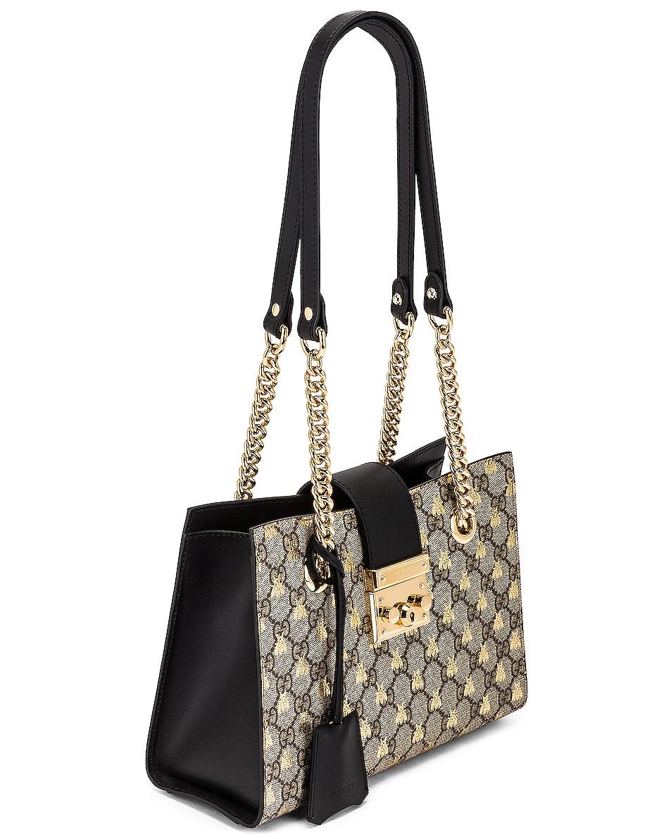 Image 4 of Gucci Padlock GG Tote Bag in Beige Ebony & Black