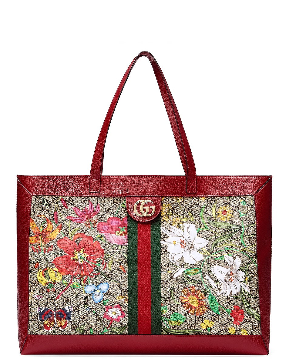 Image 1 of Gucci Supreme GG Flora Tote in Beige Ebony & Red