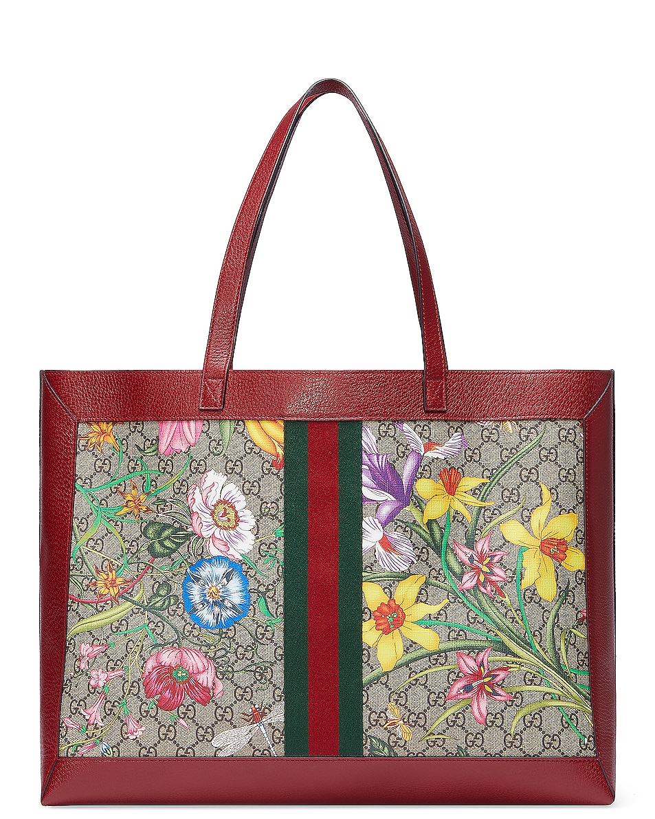 Image 3 of Gucci Supreme GG Flora Tote in Beige Ebony & Red