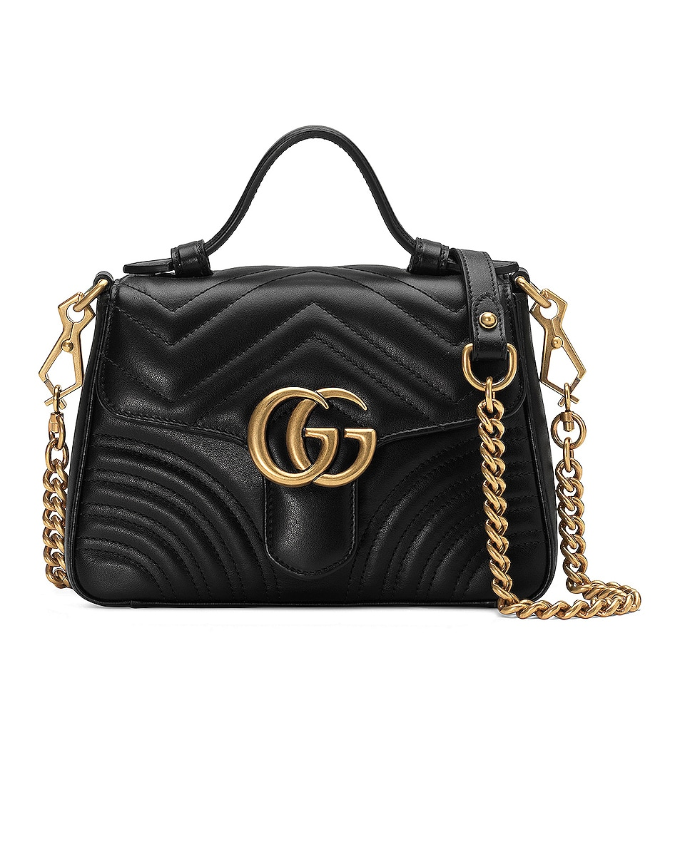 Image 1 of Gucci GG Marmont 2.0 Top Handle Bag in Black