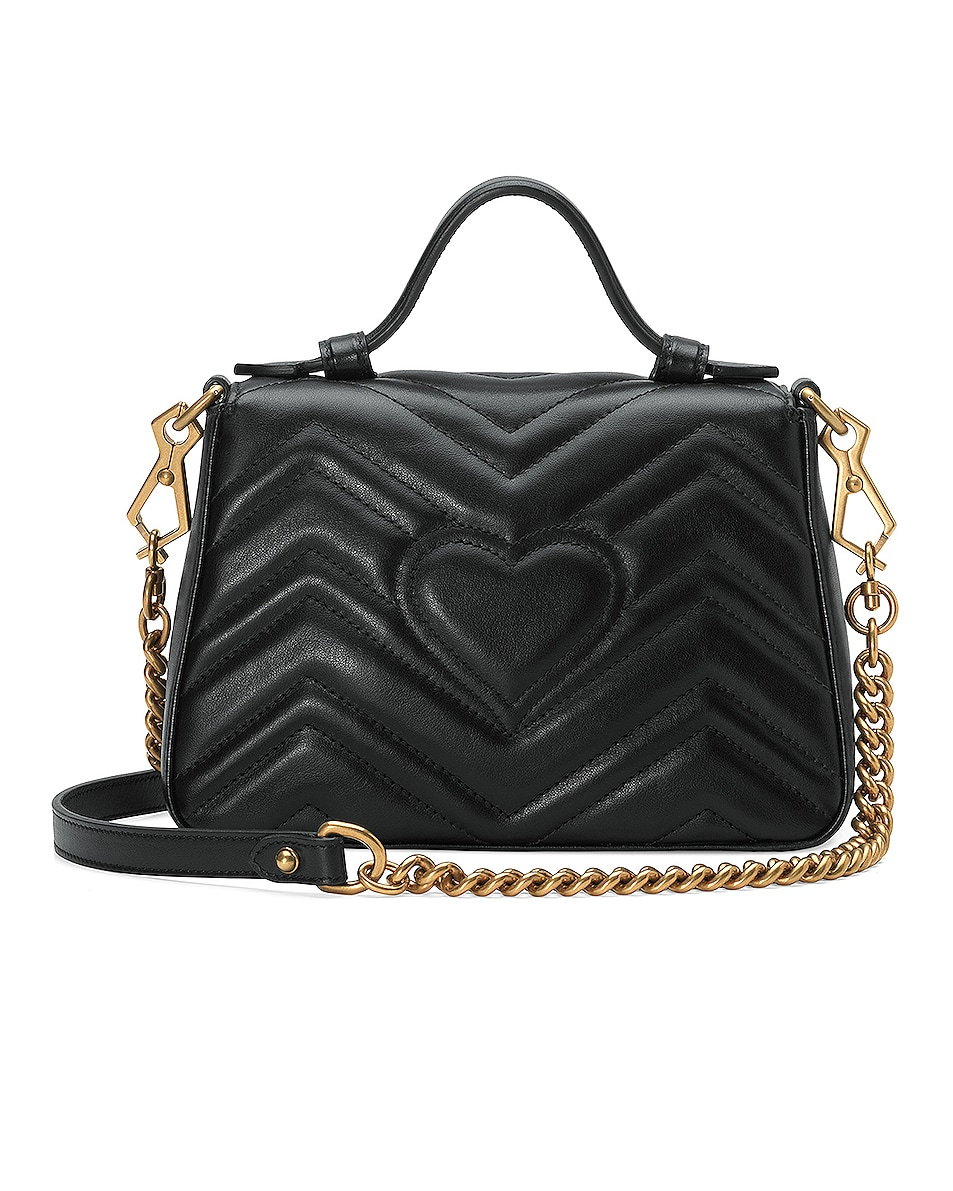 Image 3 of Gucci GG Marmont 2.0 Top Handle Bag in Black