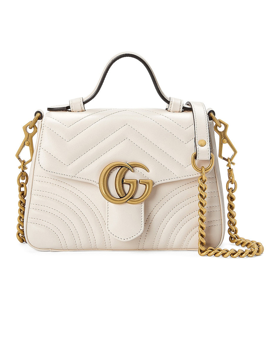 Image 1 of Gucci GG Marmont 2.0 Top Handle Bag in Mystic White