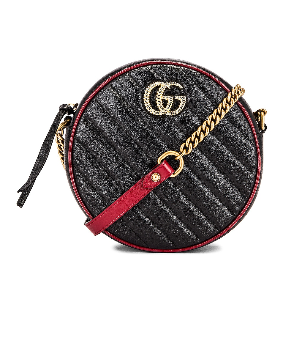 Image 1 of Gucci GG Marmont 2.0 Round Shoulder Bag in Black & Romantic Ceris