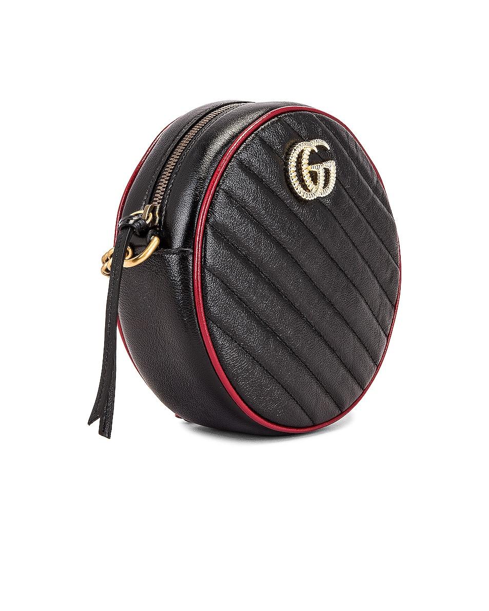 Image 4 of Gucci GG Marmont 2.0 Round Shoulder Bag in Black & Romantic Ceris