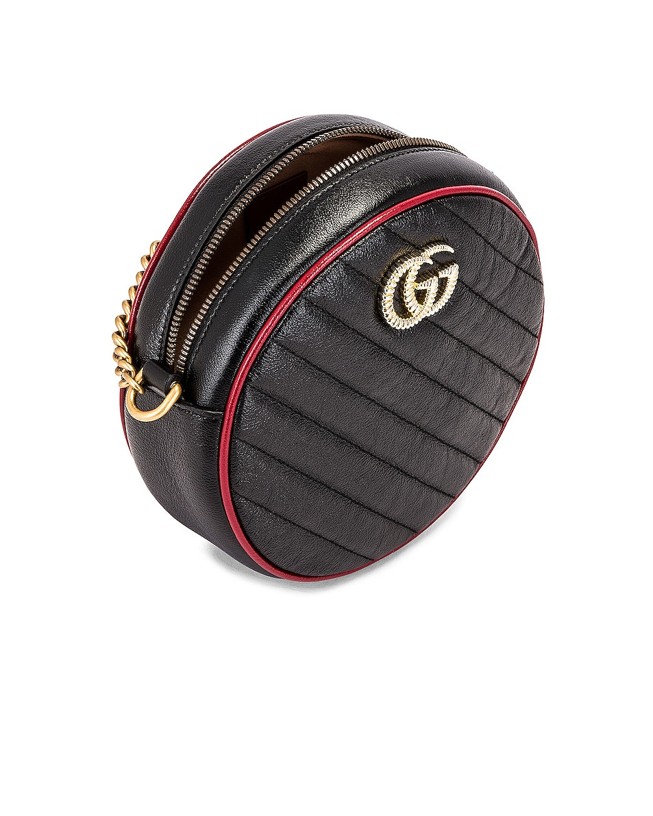 Image 5 of Gucci GG Marmont 2.0 Round Shoulder Bag in Black & Romantic Ceris