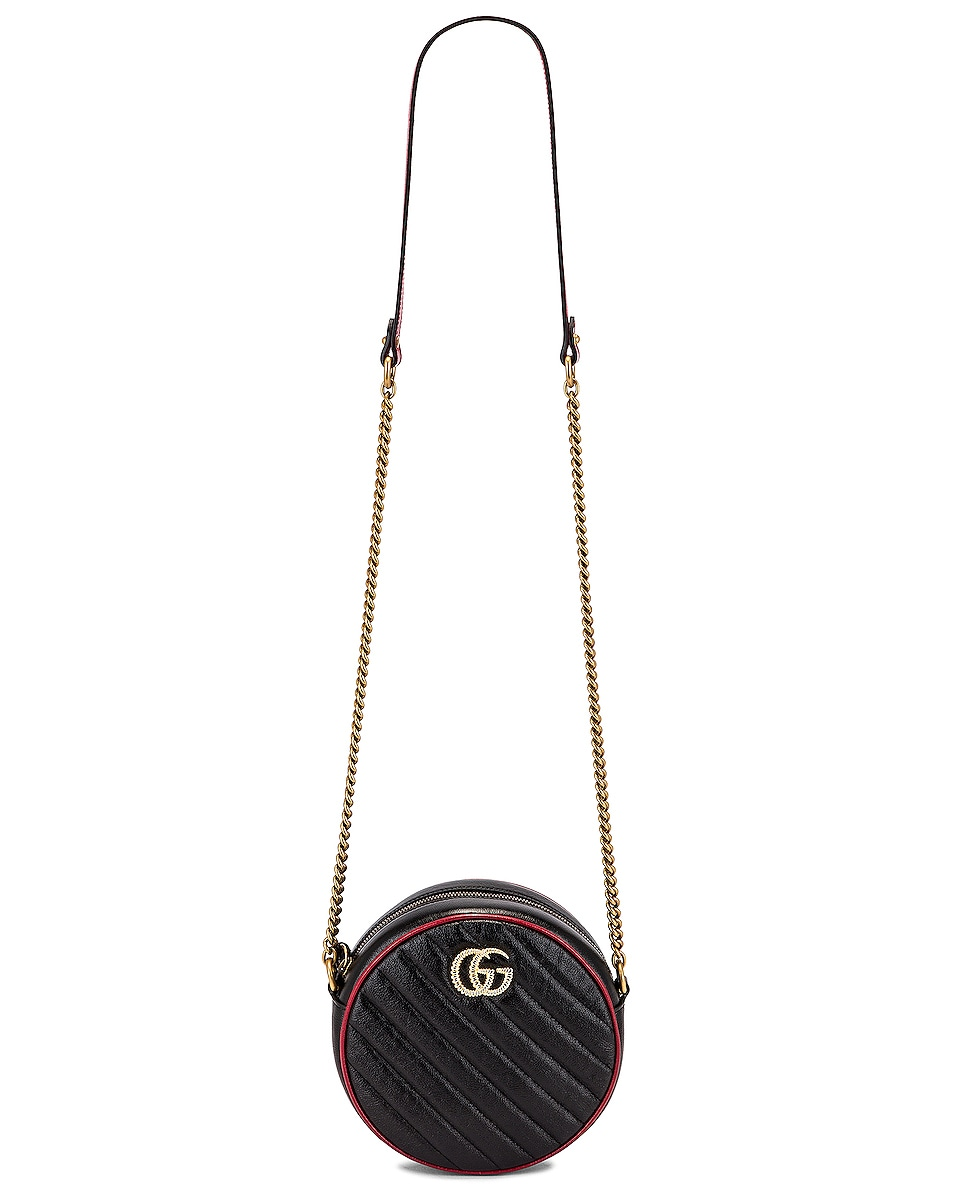 Image 6 of Gucci GG Marmont 2.0 Round Shoulder Bag in Black & Romantic Ceris