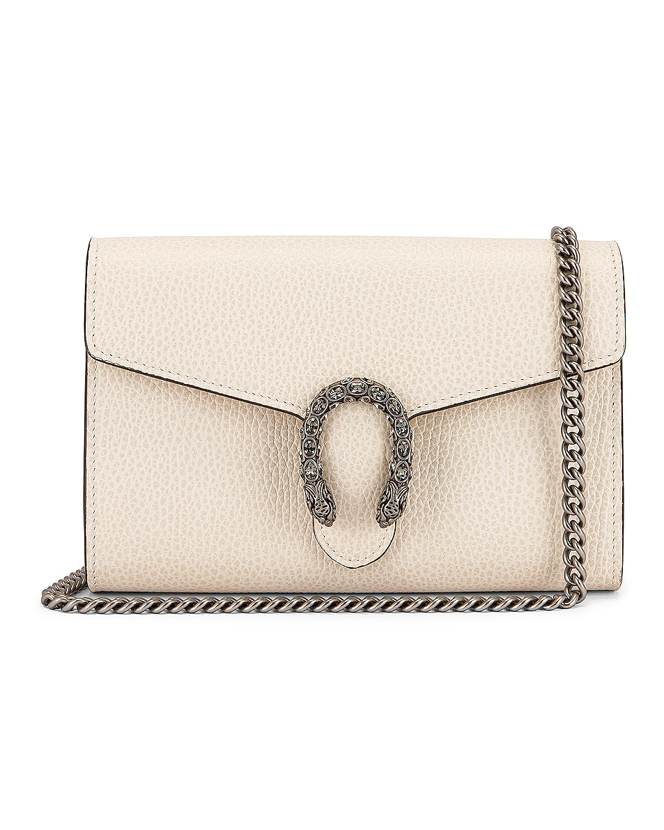 Image 1 of Gucci Leather Chain Shoulder Bag in Mystic White & Black Diamond