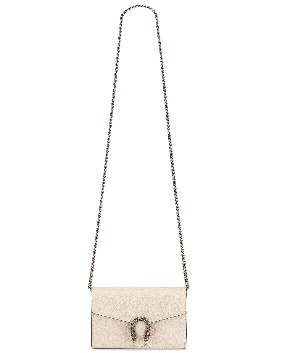 Image 6 of Gucci Leather Chain Shoulder Bag in Mystic White & Black Diamond