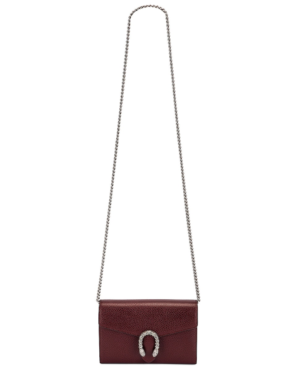 Image 6 of Gucci Leather Chain Shoulder Bag in Vintage Bordeaux & Black Diamond
