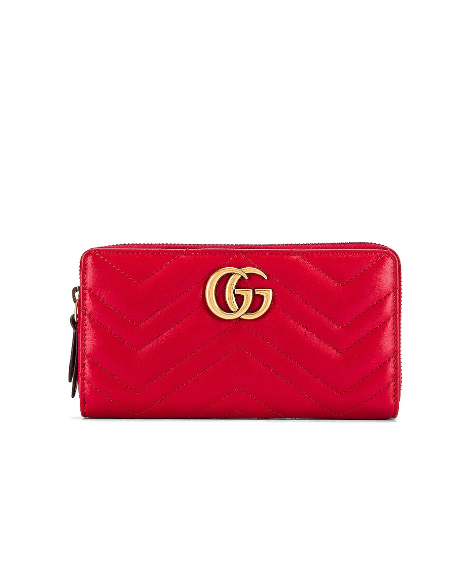 Image 1 of Gucci Leather Zip Around Wallet in Hibiscus Red
