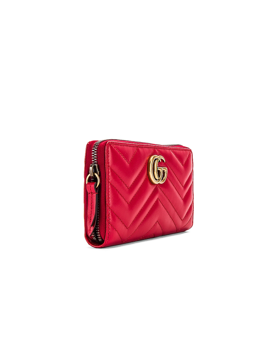 Image 3 of Gucci Leather Zip Around Wallet in Hibiscus Red